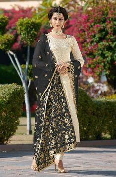 Jacquard Brocade Party Wear Designer Churidar Suits New Colors Collection - Kesari Exports Vogue No. Indian Dresses, Indian Outfits, Churidar Suits, Salwar Kameez, Suits Online Shopping, Designer Salwar Suits, Indian Designer Outfits, House Dress, Designer Wear