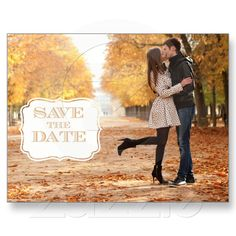 Modern Orange Swirl Label Save the Date Photo Card Post Card from Zazzle.com