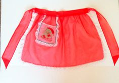 Vintage Christmas Apron Sheer Red Sexy Hostess Apron Embroidered Santa White Lace Vintage Christmas Rockabilly Pin Up  Retro Housewife