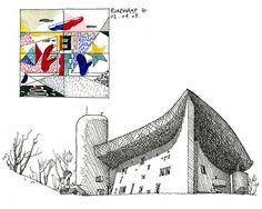 70 Ronchamp, Le Corbusier by gerard michel, via Flickr Architecture Journal, Architecture Drawing Sketchbooks, Watercolor Architecture, Concept Architecture, Ronchamp Le Corbusier, Notebook Sketches, Famous Architects, Illustration Sketches, Art Sketches