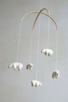 nursery mobile baby mobile Polar bear mobile white by Patricija Who am i kidding, I want this for me!