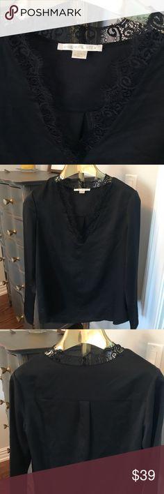 Cooper & Ella blouse with lace trim Cooper & Ella ultra versatile black v neck blouse with lace trim. Excellent condition! cooper & ella Tops