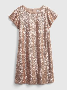 Xmas Photos, Gold Sequin Dress, Short Sleeves, Short Sleeve Dresses, Gap Kids, Crew Neck, Sequins, Knitting, Lace