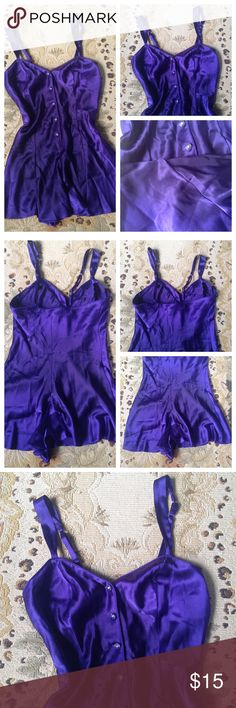 Purple Nightie Romper Jumper S Lingerie Cacique. Purple romper. Size small. Snaps in crotch area. Adjustable straps. Super cute! Lingerie Cacique Intimates & Sleepwear Pajamas