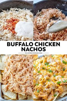 Crunchy tortilla chips are loaded with tender chicken, drenched in a spicy buffalo ranch sauce and smothered in cheese for the ultimate game day snack. These Buffalo Chicken Nachos are easy to whip up and are sure to please your hungry crowd! Pollo Buffalo, Buffalo Chicken Nachos, Chicken Thights Recipes, Chicken Parmesan Recipes, Chicken Nachos Recipe, Chicken Salad Recipes, Chicken Meals, Meatball Recipes, Game Day Snacks