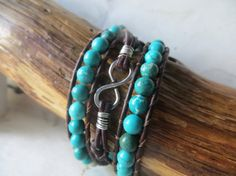 Turquoise Silver Charm Leather Infinity by OrnamentationbyMary