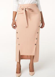 3d2264b6b9 Button Detail High Waist Belted Skirt | Rotita.com - USD $28.43 Skirt Belt,