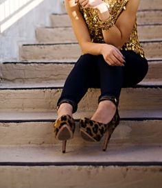 Leopard shoes AND sequined top