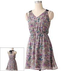 LC Lauren Conrad Floral Chiffon Dress