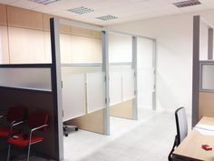 Box built with Wall Partitions Model OPEN SPACE with Durmast Panels and Glass, Saloon Doors and Aluminium Structure