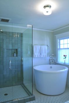 Bathroom: Deep And Small Corner Porcelain Tub Planted Towel Metal Bars Round Ceiling Lamp Full Height Glass Shower Area Black White Patterns Flooring, The Options of Deep Tubs for Small Bathroom mini bathtubs small corner bathtubs idea deep Japanese tubs