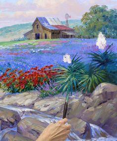 Forever Texas by Mikki Senkarik Indian Paintbrush, Texas Forever, Texas Bluebonnets, Loving Texas, Texas Travel, Blue Bonnets, Painting Lessons, Landscape Paintings, Landscapes