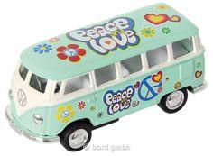 Bartl, Metall Modellauto VW Bus, sortiert, Im Flower Power Design mit Rückzugsmotor | 111207