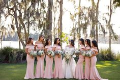 Elegant Pink Bridesmaid Gowns // A Glamorous White Orlando Wedding via TheELD.com