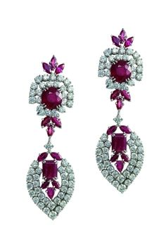 These exclusive earrings by Varuna D Jani withh Rubies and perfectly fitted diamonds rightly show off your flamboyant style by Dittekarina