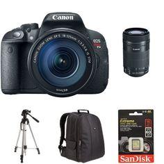 Canon EOS Rebel T5i Digital SLR Bundle with 18-135mm Lens and 55-250mm Lens + Accessories. Canon EOS Rebel T5i Digital SLR with 18-135mm STM Lens. Canon EF-S 55-250mm F4-5.6 IS STM Lens for Canon SLR Cameras. SanDisk Extreme 16GB UHS-I/U3 SDHC Memory Card Up To 60MB/s Read-SDSDXN-016G-G46 [Newest Version]. AmazonBasics DSLR and Laptop Backpack - Orange interior. AmazonBasics 60-Inch Lightweight Tripod with Bag.