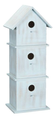Vogelhuisje: houten huisje in lichtblauw of fuchsia #leenbakker #terrasideeen