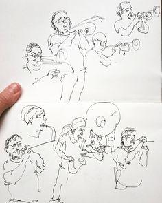 Und nun die lezte Zeichnung..  Schönes Wochenende!  live sketch mit @super5.de Füllfederhalter  #linedrawing #musiciansketch #musicianportrait #illustration #eventzeichnung #sketch #bigband #penandink #analog #bnw #ffm #kunstverein #Lolamontez  #collectmomentsanddraw #catilustre