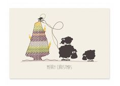 Postkarte+Merry+Christmas+-+Schafe+von+cats+on+appletrees+auf+DaWanda.com