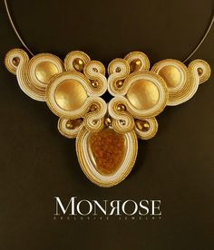 Soutache necklace white and gold by Monrose Jewerly