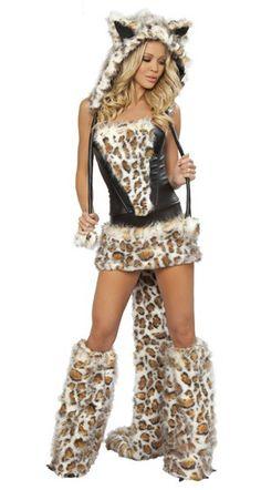 free shipping sexy wolf costume leopard women fancy dress with bowknot women halloween apparel ac007 - Womens Wolf Halloween Costume
