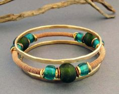 Teal and Green Bangle Bracelets Set of Three Bangles Copper and Brass Jewelry Stack Bracelets Handmade Tribal Jewelry