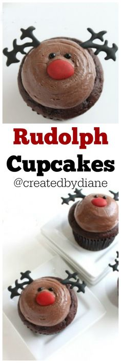 Rudolph Cupcakes @createdbydiane Holiday Cupcakes