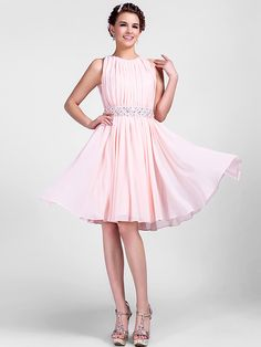 Cocktail Party/Homecoming/Wedding Party Dress - Pearl Pink Plus Sizes A-line/Princess Jewel Knee-length Chiffon - USD $79.99