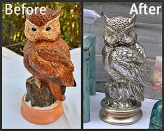 The Homeless Finch: My Owl Gets a Makeover Inspired By Design Trends And Gets A … – Diy Thrift Store Crafts Thrift Store Furniture, Thrift Store Crafts, Thrift Stores, Repurposed Furniture, Refurbished Furniture, Silver Painted Furniture, Diy And Crafts, Arts And Crafts, Owl Crafts