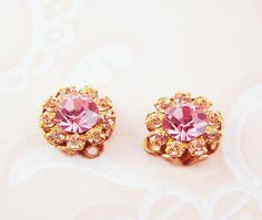 Vintage Swarovski Peach and Rose Pink Rhinestone Flower Drops Charms - 2 by alyssabethsvintage on Etsy
