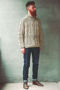 Post with 1624 views. Textured Knitwear (Aran, Cable, and Fisherman Sweaters) Mens Cable Knit Sweater, Knit Sweater Outfit, Men Sweater, Gents Fashion, Male Fashion, Boy Outfits, Casual Outfits, Work Wear, Knitwear