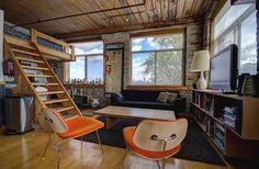 Noble Court Lofts - Unit #413   Toronto LOFTS Small Space Living, Living Spaces, Toronto Lofts, Industrial Office Space, Hardwood Floors, Flooring, Exposed Brick Walls, Open Concept Kitchen, Wood Ceilings