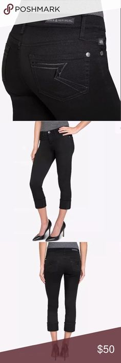 Rock & Republic Cropped Capri Black Kendall Jeans New with tags Rock & Republic Bat Wing Cropped Capri Kendall Classy Black Jeans. Rock & Republic brings denim with stature to your wardrobe so amp up your weekend with this pair for a soft broken in feel that can be worn cuffed or uncuffed. Slim through hip & thigh. 5 pocket style. 97%cotton 3%spandex for comfort & sexy fit. Belt loops. Silver logo hardware. Rock & Republic jeans feature the finest ringspun denim for strength, combed cotton…