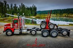 Red KW log truck