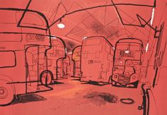Lucinda Rogers, via Spitalfields Life. Ash Grove Bus Garage – This was drawn at night in the bus depot at Hackney Central when Routemasters were still running.