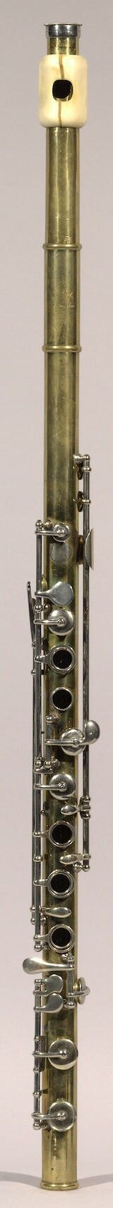 Brass flute with ivory embochure (Theobald Boehm 1847)