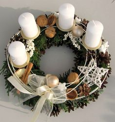 Classy advent wreath in white / Seller's item Moana floristry Christmas Advent Wreath, Handmade Christmas Decorations, Xmas Wreaths, Christmas Mood, Christmas Candles, Noel Christmas, Christmas Centerpieces, Pink Christmas, Xmas Decorations