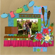 Luau Page. Love the skirting at the bottom. Lanterns are adorable. GREAT page to feature a single photo