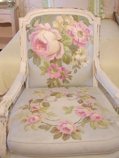A beautifully painted chair--even the fabric! ... Chateau De Fleurs: I Had This Crazy Idea Buzzing Around in My Head That Would Not Go Away!