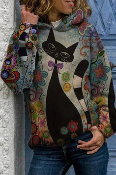 Pullover Hoodie, Hoodie Sweatshirts, Printed Sweatshirts, Hoodies, Orange Gris, Mode Hippie, Animal Print Outfits, Sweat Shirt, Pulls