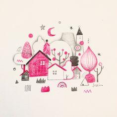"""""""핑크 집 별 나무 밤 연필.색연필 드로잉북2015. By.jekim wisderland.com #jekim #wisderland #draw #drawing #illust #doodle #book #note #illustration #그림 #드로잉 #일러스트 #낙서 #제킴…"""""""