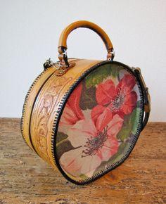 Handmade Hand Tooled Hatbox Handbag Oneofakind by DunleerPlace, $295.00