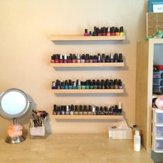 Ribba shelves - another use to display nail varnishes by a vanity ❤️