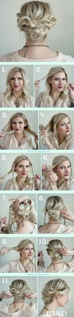 Cute Girl Hairstyles: Easy Messy Updo Hairstyles for Medium Length Hairs (fast updo for work) Braided Hairstyles Tutorials, Messy Braided Hairstyles, Cute Girls Hairstyles, Trendy Hairstyles, Messy Buns, Messy Updo, Natural Hair Tips, Natural Hair Styles, Short Hair Styles