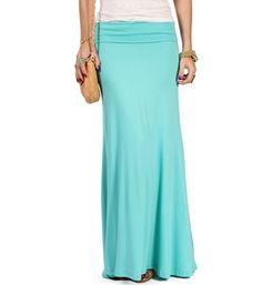 SALE-Mint Fold Over Waist Maxi Skirt