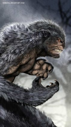 Werewolf in between man and full transformation