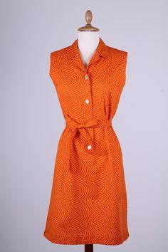 Orange sommekjole med print 1960. S