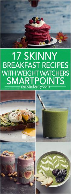 17 Skinny Breakfast Recipes with Weight Watchers SmartPoints (Fast Easy Meal Weightloss) Plats Weight Watchers, Weight Watchers Lunches, Weight Watcher Smoothies, Weight Watchers Breakfast, Weight Watcher Dinners, Weightwatchers Recipes, Fast Easy Meals, Ww Recipes, Skinny Recipes