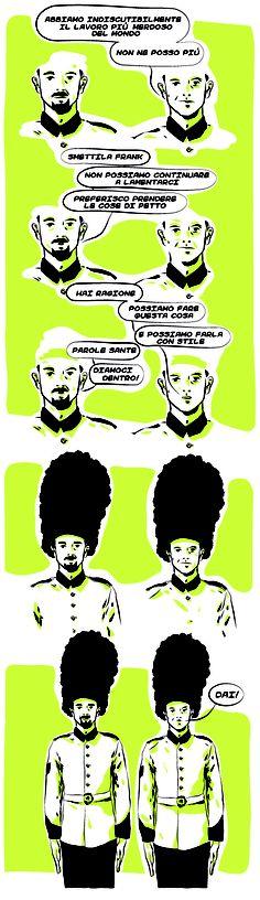 Il peggior mestiere #guardie #inglesi #lavoro #disoccupazione #mestiere #stile #comics #vignette #fumetti #giallo #nero #illustration #fun