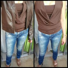 #jeansandtop #haltertop #heelsandals #leatherjacket #withorwithoutjacket #bracelet #outfitideas #outfitoftheday